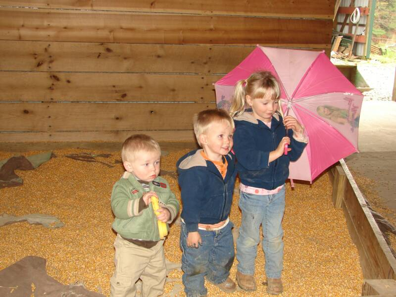 "David, Austin, and Abby in ""their"" corn box"